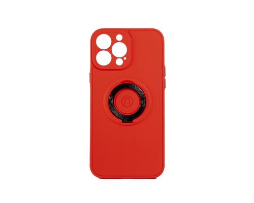 Чехол-накладка iPhone 13 Pro, силиконовый, магнитный, красный, с кольцом
