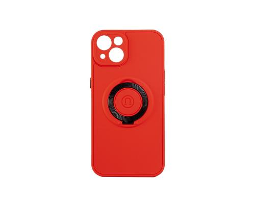 Чехол-накладка iPhone 13, силиконовый, магнитный, красный, с кольцом