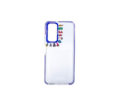 Чехол-накладка Huawei P Smart 2021/Y7A, силиконовый, прозрачный с картинками вокруг камеры, синий