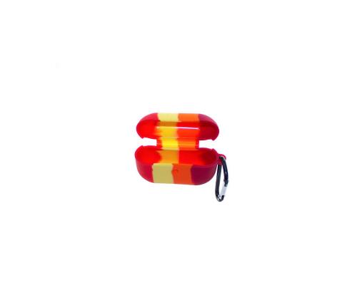 Чехол AirPods Pro, силиконовый, тонкий, с карабином, разноцветный №3