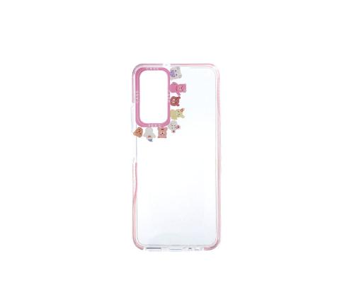 Чехол-накладка Huawei P Smart 2021/Y7A, силиконовый, прозрачный с картинками вокруг камеры, розовый
