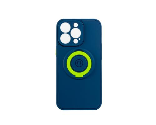 Чехол-накладка iPhone 13 Pro Max, силиконовый, магнитный, синий, с кольцом