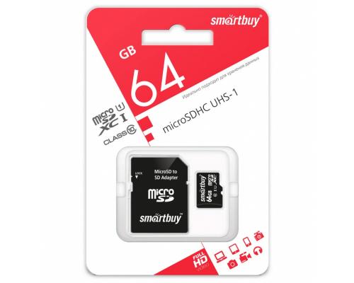 Карта памяти Smartbuy microSDXC 64 Gb, class 10, с адаптером SD