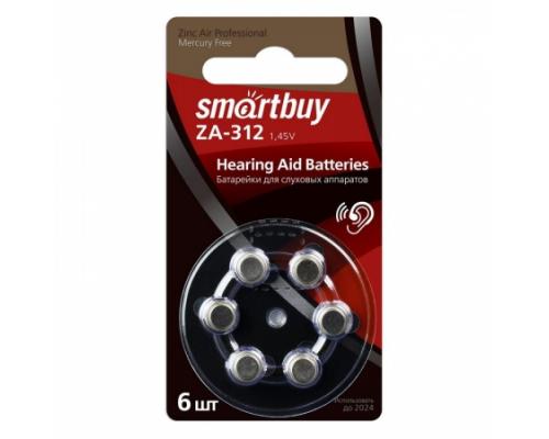 Батарейки Smartbuy ZA312 1.4V, для слуховых аппаратов, BL6, 6 шт в блистере (SBZA-A312-6B)