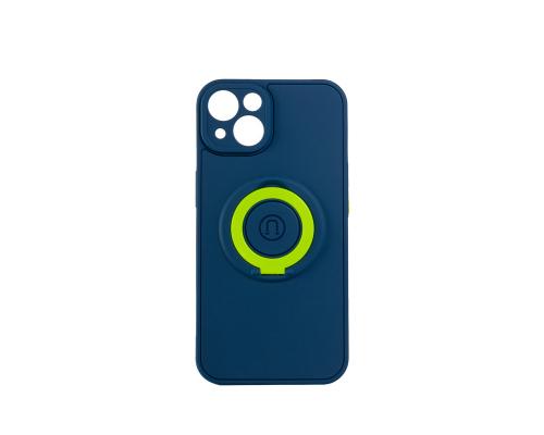 Чехол-накладка iPhone 13, силиконовый, магнитный, синий, с кольцом