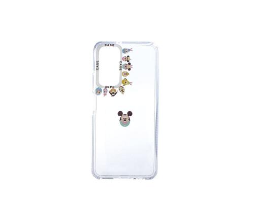 Чехол-накладка Huawei P Smart 2021/Y7A, силиконовый, прозрачный с картинками вокруг камеры, белый
