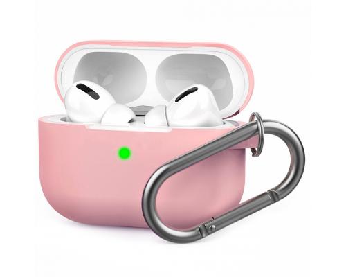 Чехол AirPods Pro Silicone Case, силиконовый, с карабином, светло-розовый