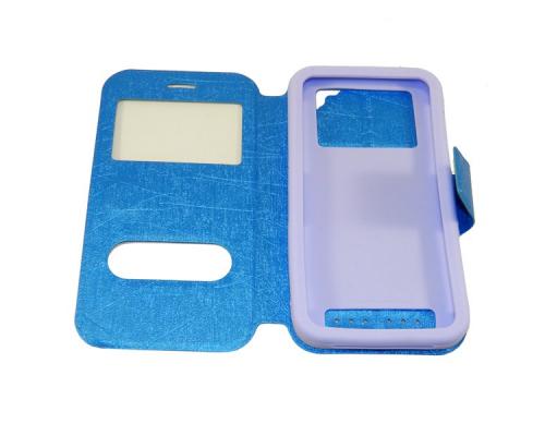 Чехол универсальный с окошком и силиконовой вставкой с имитацией царапин 5,5 голубой