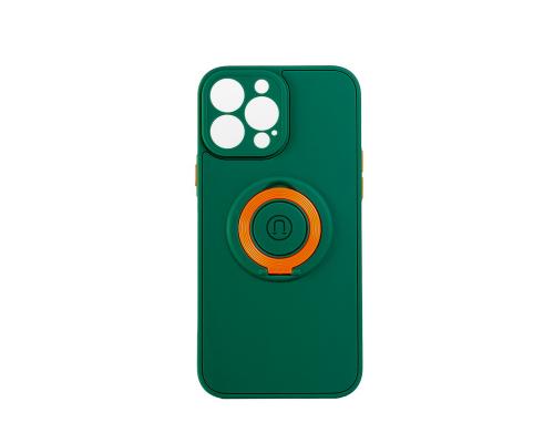 Чехол-накладка iPhone 13 Pro Max, силиконовый, магнитный, зелёный, с кольцом