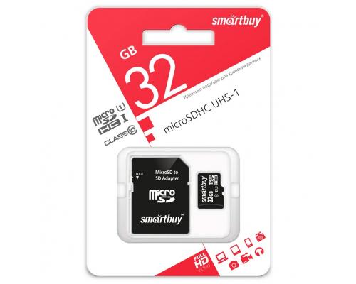 Карта памяти Smartbuy microSDHC 32 Gb class 10, с адаптером SD, UHS-1