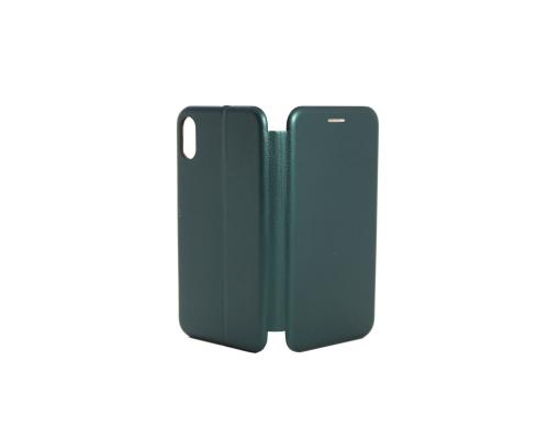 Чехол-книжка iPhone X/XS, кож-зам, в бок, зелёный, FASHION CASE