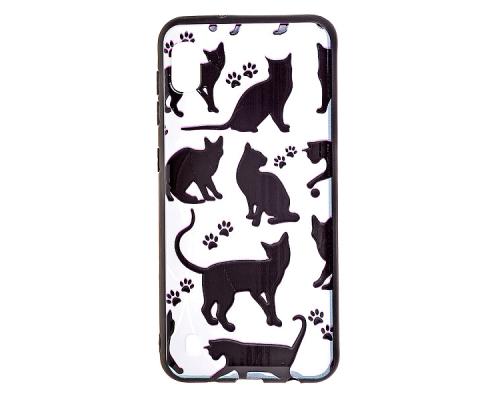 Чехол - накладка для Xiaomi Redmi 7 - пластиковый матовый  - Чёрные кошки (цвет белый, в пакете)