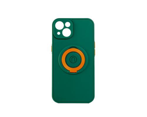 Чехол-накладка iPhone 13, силиконовый, магнитный, зелёный, с кольцом