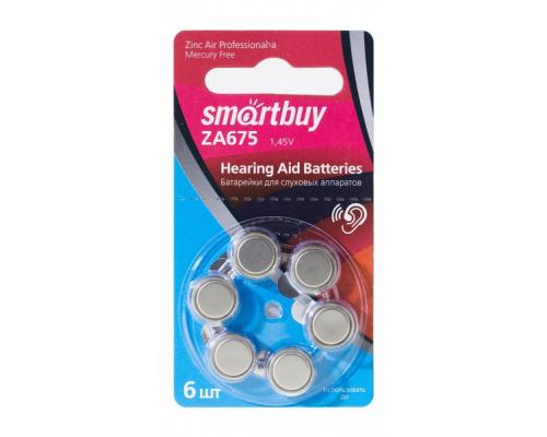 Батарейки Smartbuy ZA675, для слуховых аппаратов, 1,4V, BL6, 6 шт в блистере (SBZA-A675-6B)